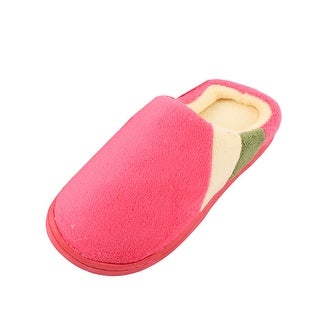 Home Coral Fleece Lady Warm Soft Anti-slip Winter Slippers Red Pair US 8.5