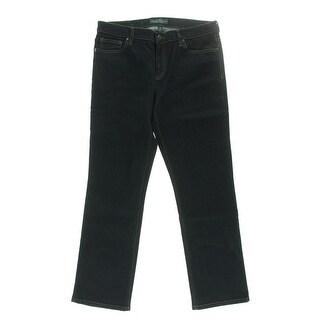 LRL Lauren Jeans Co. Womens Denim Dark Wash Straight Leg Jeans