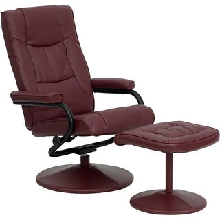 Offex Contemporary Burgundy Leather Recliner and Ottoman with Leather Wrapped Base [OF--7862-BURG-GG]