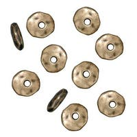 TierraCast Brass Oxide Finish Pewter Nugget Heishe Spacer Beads 6mm (10)