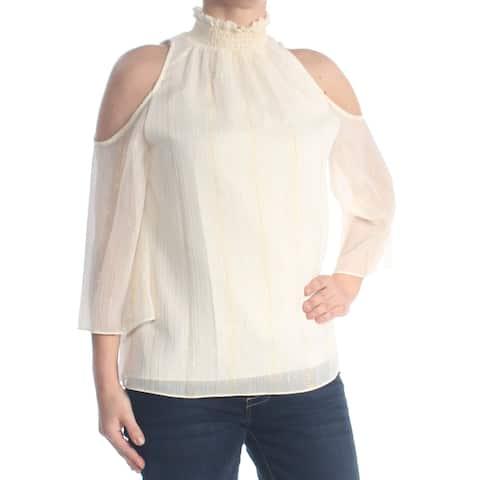 RACHEL ZOE Womens Ivory Cold Shoulder Pinstripe Turtle Neck Tunic Top Size: XS