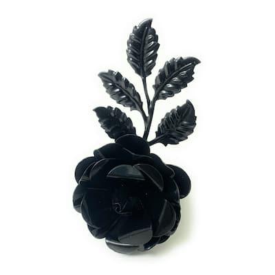 VIBHSA Flower Napkin Rings Set of 4 (Black Rose)