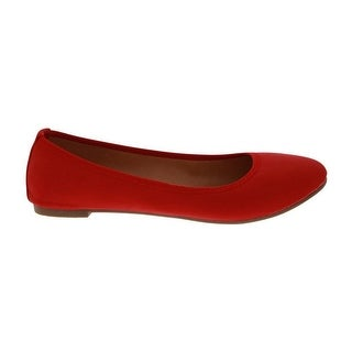 Angelina Adult Red Almond Toe Small Heel Platform Classic Flats