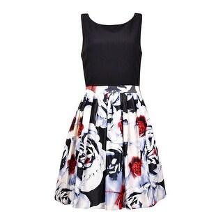 INC International Concepts Women's Mix-Media Floral Dress - Black/White/Red