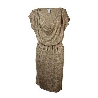 Bar III Women's Short Sleeve Cowl Neck Dress - m