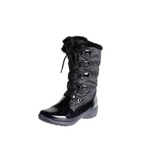Khombu Womens Anne Snow Boots Faux Fur Patent
