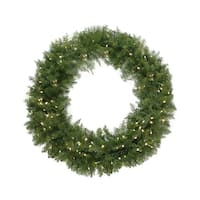 "24"" Pre-Lit Northern Pine Artificial Christmas Wreath - Warm Clear LED Lights - green"
