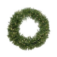 "36"" Pre-Lit Northern Pine Artificial Christmas Wreath - Warm Clear LED Lights - green"