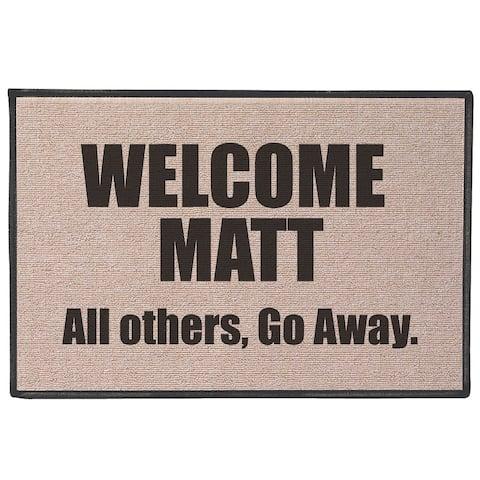 """Welcome Matt Funny Quirky Humorous Doormat - Fits Standard Doorway - 27"""" x 18"""" - Beige"""