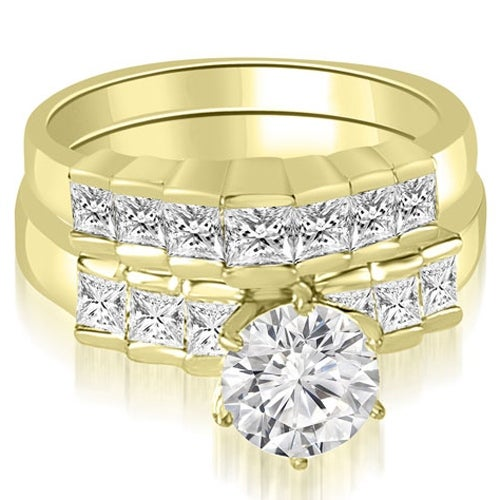 2.10 cttw. 14K Yellow Gold Princess and Round Cut Diamond Bridal Set
