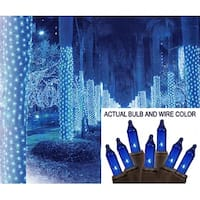 2' x 8' Blue Mini Christmas Net Style Tree Trunk Wrap Lights - Brown Wire