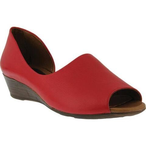 Spring Step Women's Lesamarie Peep Toe Shoe Red Leather