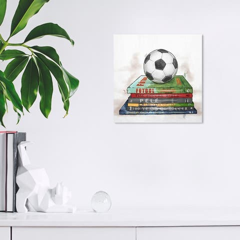 Wynwood Studio 'Soccer Books 'Sports and Teams Wall Art Canvas Print Soccer - White, Green