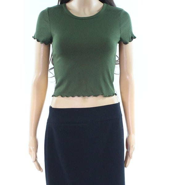 Moa Moa Green Womens Size XS Crewneck Ribbed Stretch Crop Top