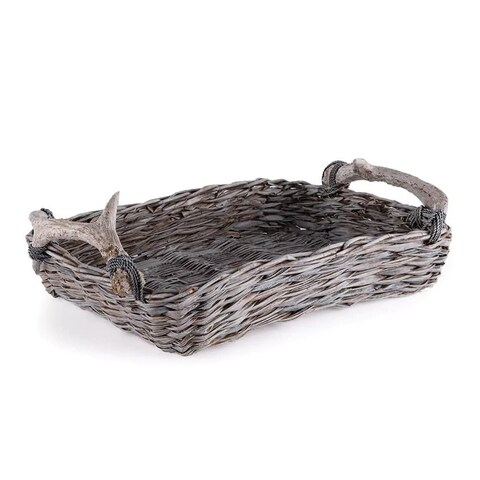 Napa Home and Garden JP203 Caribou 6 Inch Wide Wood Tray with Antler Handles - taupe