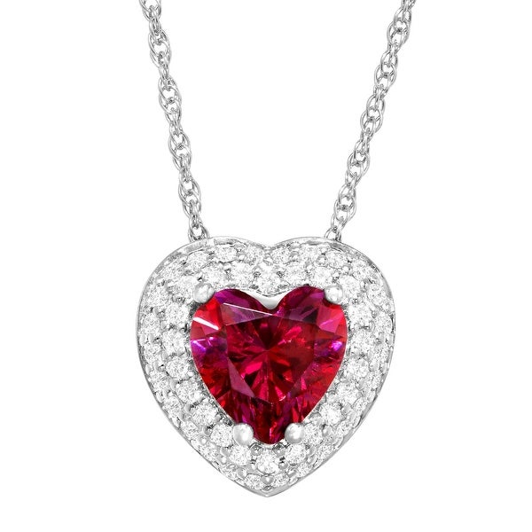 Heart Pendant with Red Swarovski Zirconia in Sterling Silver