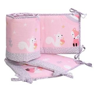 Bedtime Originals Rainbow Unicorn with Fox & Squirrel Pink/Purple 4-Piece Baby Crib Bumper