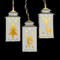 Set of 10 Battery Operated LED Mini White Metal Lantern Christmas Lights - Clear Wire
