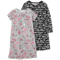 Carter's Little Girls' 2-Pack Graphic Sleep Gowns, 2-3 Kids