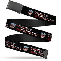 Blank Black  Buckle Transformers Logo Autobot Black Blue Red Fade Web Belt