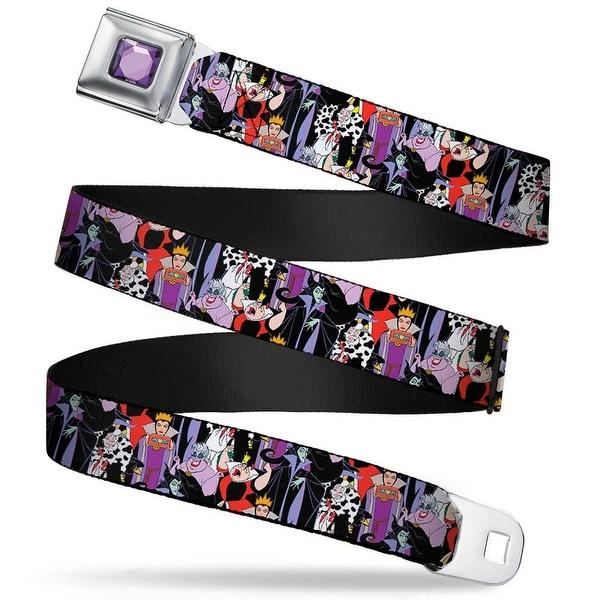 Princess Gem Close Up Full Color Purple 5 Disney Villains Stacked Webbing Seatbelt Belt
