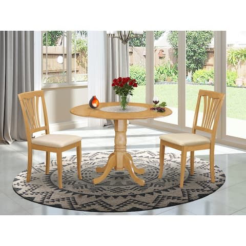 East West Furniture 3-piece Dining Set - Round Table and Dinette Chair Oak Finish (Chairs