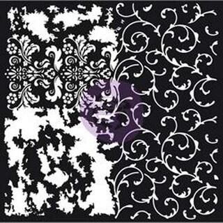 """Distressed Flourish - Prima Re-Design Mixed Media Decor Stencil 22""""X22"""""""