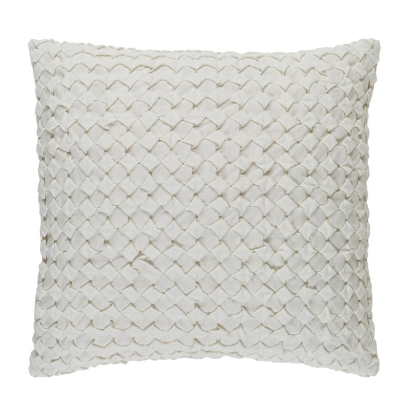 "18"" Alabaster White Angled Weave Decorative Square Throw Pillow"