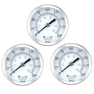 """Pressure Gauge , 0-200 PSI/0-14 BAR  , 1.8"""" Dial Display , 1/4"""" NPT Male 3pcs"""