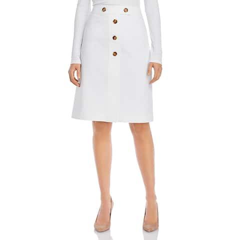Lafayette 148 New York Womens Taya Pencil Skirt Button Front Knee-Length - White