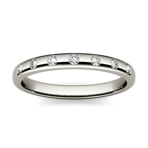 14k White or Yellow Gold 1/10ct Moissanite Stackable Band