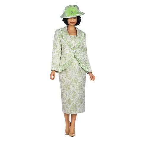 Giovanna Signature 2pc Metallic Brocade Satin Ruffled Skirt Suit