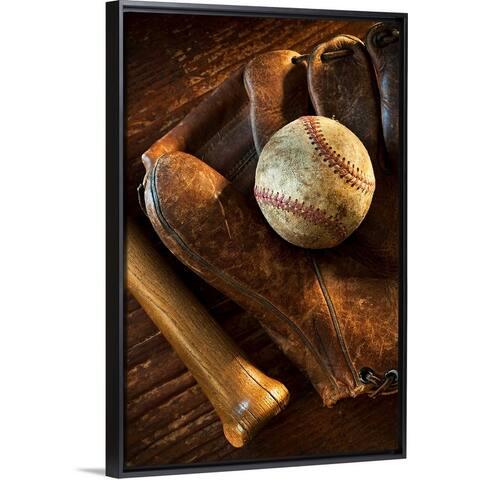 """Antique baseball on baseball glove with bat"" Black Float Frame Canvas Art"