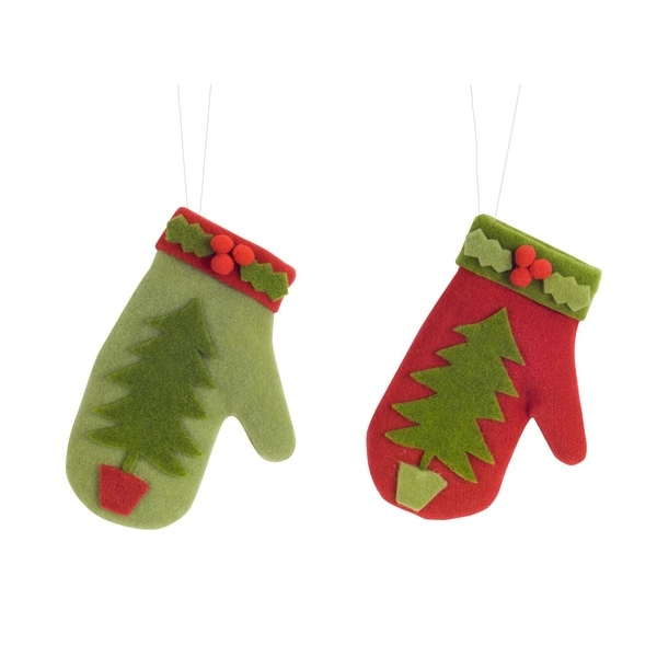 Club Pack of 12 Red and Green Christmas Tree Mitten Shaped Ornament 8""