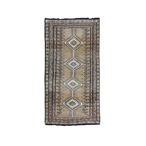 """Hand Knotted Brown Persian with Wool Oriental Rug (3'4"""" x 6'8"""") - 3'4"""" x 6'8"""""""