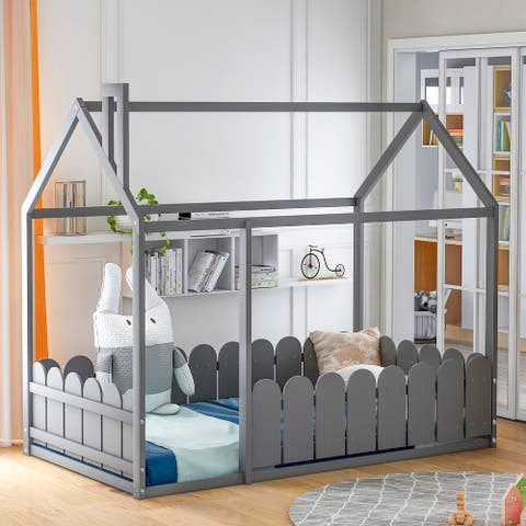 Wooden Bed House Bed Frame with Fence