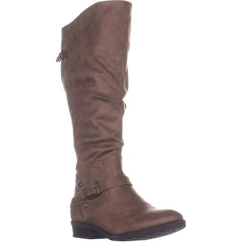 BareTraps Yanessa2 Wide Calf Knee High Boots, Taupe, 7 US