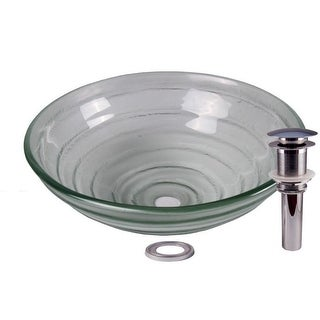 JANO Clear Swirl Tempered Glass Basin with Pop Up Drain