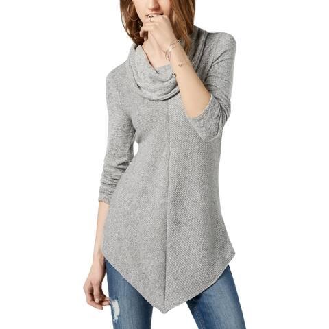 BCX Womens Tunic Sweater Chevron Ribbed