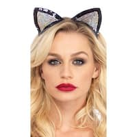 Sequin Cat Ears - Silver - One Size Fits most