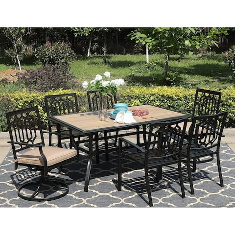 Sophia & William 7 Pieces Patio Dining Set with 2 Swivel Garden Chairs with Cushion, 4 Steel Chairs, 1 Rectangle Table