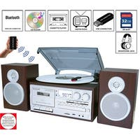 Boytone BT-28SPS, Bluetooth Classic Style Record Player Turntable with AM/FM Radio, Cassette Player, CD Player, 2 Separate Stere