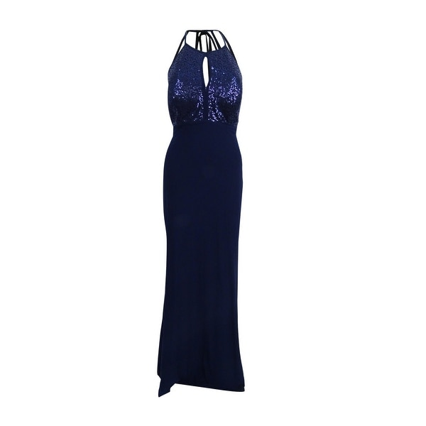 X by Xscape Women\'s Sequined Keyhole Halter Gown (12, Navy) - Navy ...