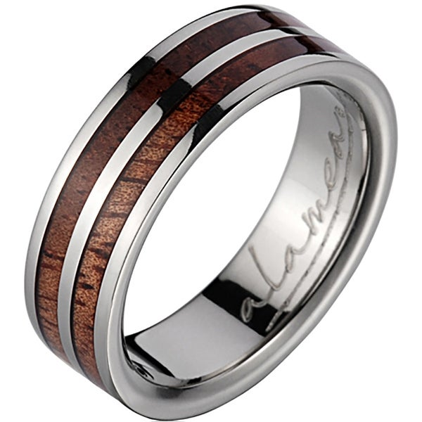Titanium Wedding Band With Koa Wood Inlays 6 mm