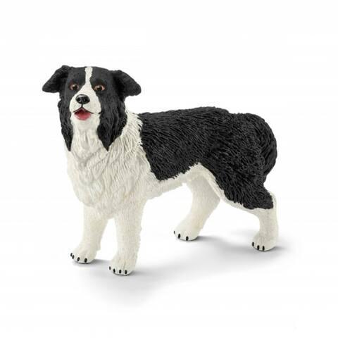 Schleich 16840 Border Collie Toy Figure, Black & White