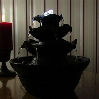 Sunnydaze Three Tier Cascading Tabletop Fountain w/ LED Lights - Options Available