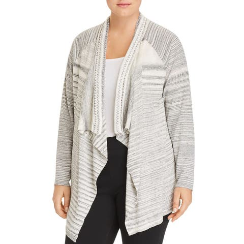 Nic + Zoe Womens Sweater Plus Striped Knit Cardigan