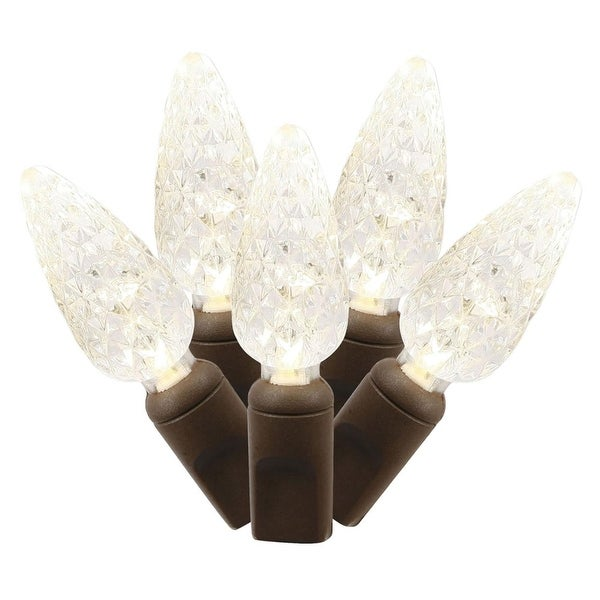 Set of 50 Warm White Commercial Grade LED C6 Christmas Lights - Brown Wire - CLEAR