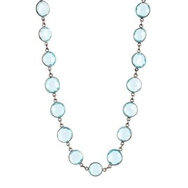 Blue Topaz Quartz Station Bezel Necklace