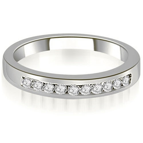 0.25 cttw. 14K White Gold Channel Set Round Cut Diamond Wedding Anniversary Band HI,SI1-2